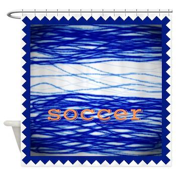 Sports Blue Soccer Shower Curtain