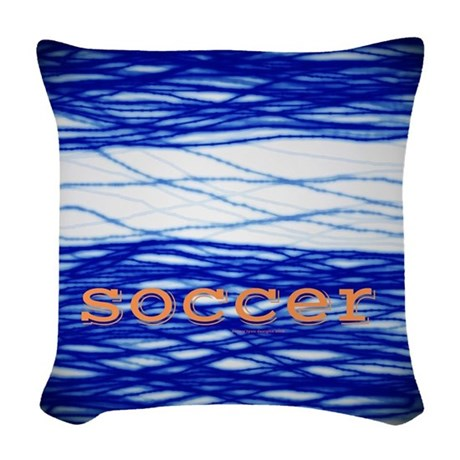Sports Blue Soccer Woven Throw Pillow by DennyLyonGifts