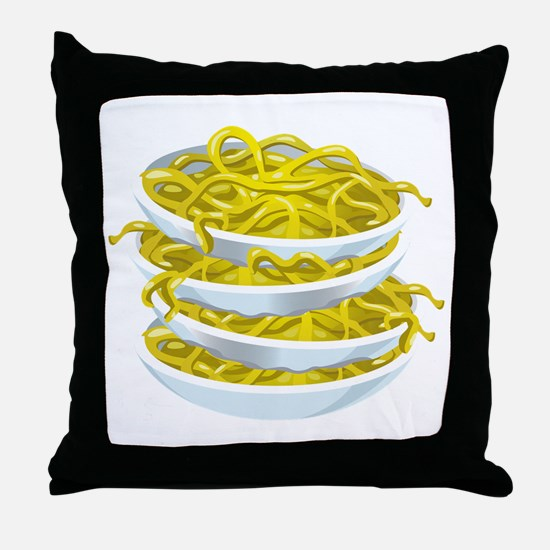 Bowls Of Noodles Throw Pillow