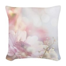 Dreamy Pink Daisy Woven Throw Pillow