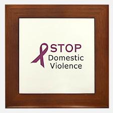 STOP DOMESTIC VIOLENCE Framed Tile