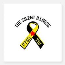 "THE SILENT ILLNESS Square Car Magnet 3"" x 3"""