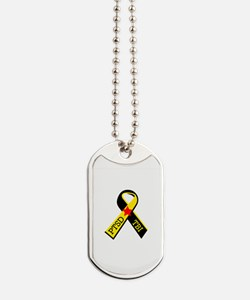 MILITARY PTSD AND TBI RIBBON Dog Tags