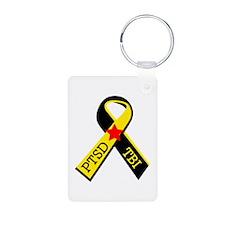 MILITARY PTSD AND TBI RIBBON Keychains