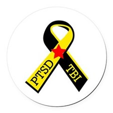 MILITARY PTSD AND TBI RIBBON Round Car Magnet