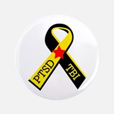 "MILITARY PTSD AND TBI RIBBON 3.5"" Button (100 pack"
