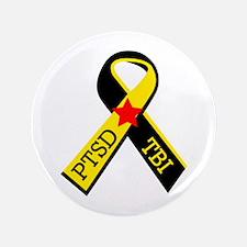 "MILITARY PTSD AND TBI RIBBON 3.5"" Button"