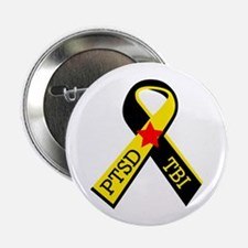 """MILITARY PTSD AND TBI RIBBON 2.25"""" Button (10 pack"""