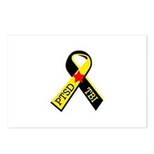MILITARY PTSD AND TBI RIBBON Postcards (Package of