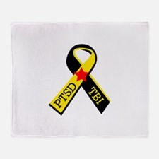 MILITARY PTSD AND TBI RIBBON Throw Blanket