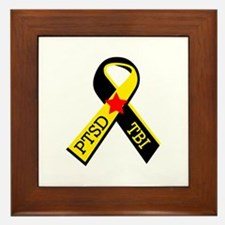 MILITARY PTSD AND TBI RIBBON Framed Tile