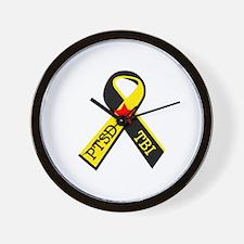 MILITARY PTSD AND TBI RIBBON Wall Clock