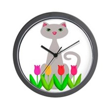 Gray Cat in Spring Tulip Flowers Wall Clock