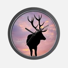 Stag And Sunset Wall Clock