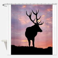 Stag And Sunset Shower Curtain