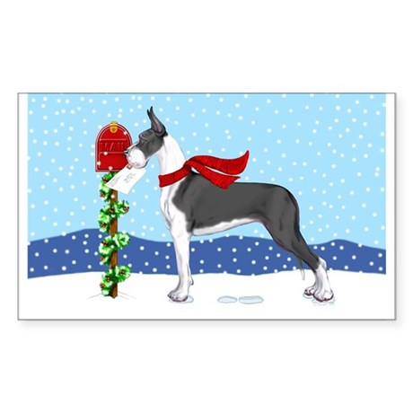 Great Dane Mantle Mail Rectangle Sticker