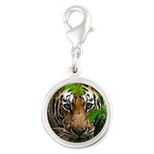 Tiger Silver Round Charm