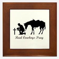 REAL COWBOYS PRAY Framed Tile