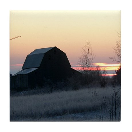Frosty Barn Tile Coaster