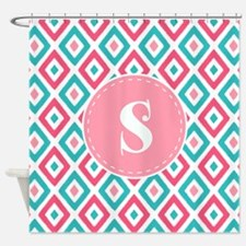 Hot Pink Aqua Ikat Diamond Pattern Shower Curtain