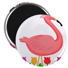 Girl Flamingo and Tulips Magnets