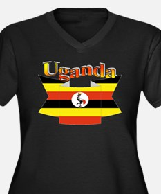 Ugandan ribb Women's Plus Size V-Neck Dark T-Shirt