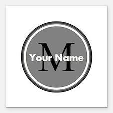 "Custom Initial And Name Square Car Magnet 3"" x 3"""