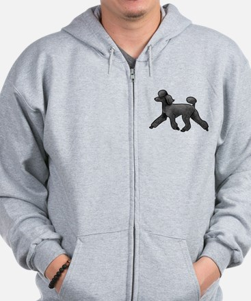 black poodle Zip Hoody