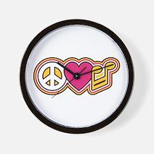Peace Love Music Wall Clock