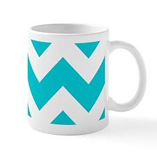 Aqua and White Chevron Mugs