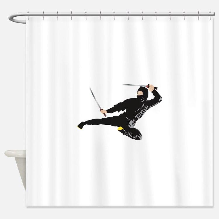 Ninja kick Shower Curtain