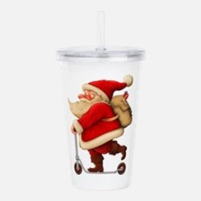 Santa Claus on a Scoot Acrylic Double-wall Tumbler