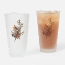 Cedar Waxwing Birds Drinking Glass