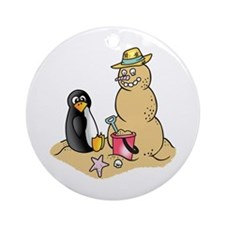 PENGUIN AND SNOWMAN Ornament (Round)