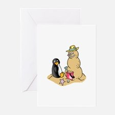 PENGUIN AND SNOWMAN Greeting Cards