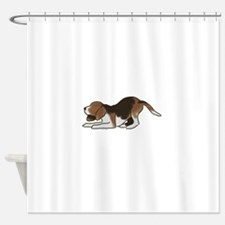 beagle playing Shower Curtain