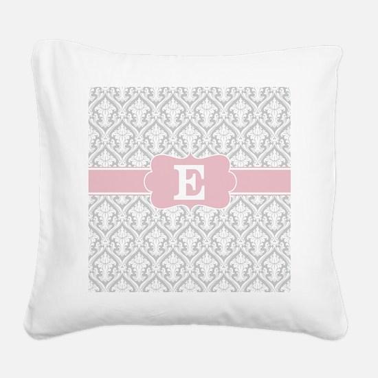 Gray Pink Damask Monogram Square Canvas Pillow