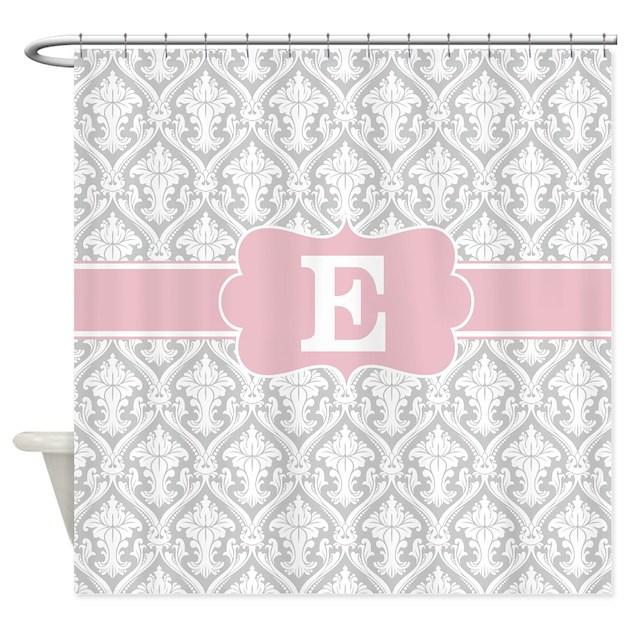 gray pink damask monogram shower curtain by cupcakesandsprinklesbirthdaytees. Black Bedroom Furniture Sets. Home Design Ideas