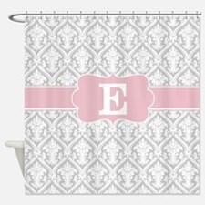 Gray Pink Damask Monogram Shower Curtain