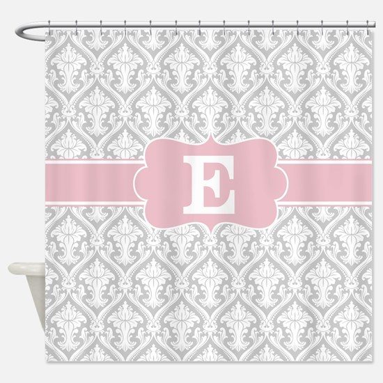 Gray Pink Damask Monogram Shower Curtain