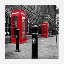 Red British Phone Boxes Tile Coaster