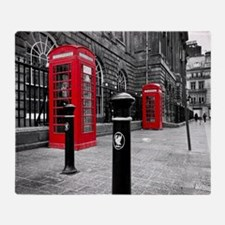 Red British Phone Boxes Throw Blanket