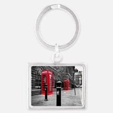 Red British Phone Boxes Landscape Keychain