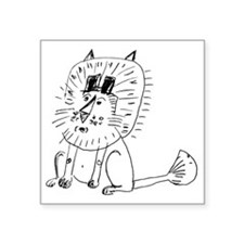 """Two Tophat Lion Square Sticker 3"""" x 3"""""""