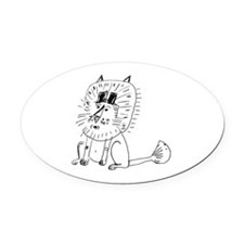 Two Tophat Lion Oval Car Magnet