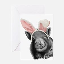 lucy the pig celebrates easter Greeting Cards