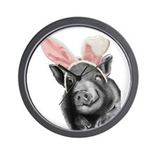 lucy the pig celebrates easter Wall Clock