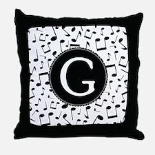Music Monogram G Throw Pillow
