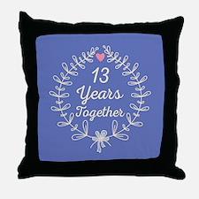 13th Wedding Anniversary Throw Pillow