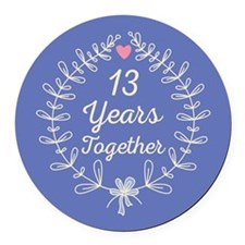 13th Wedding Anniversary Round Car Magnet